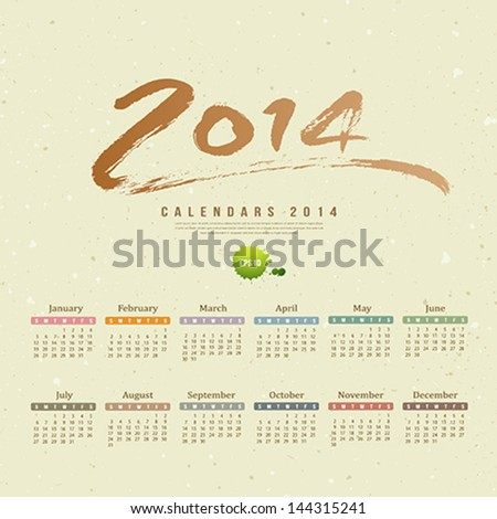 Calendar 2014 text paint brush on paper recycle background, vector illustration Сток-фото ©