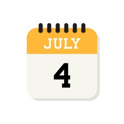 Calendar 4th of July flat icon on white background. Vector Illustration. Independence Day of United States of America.