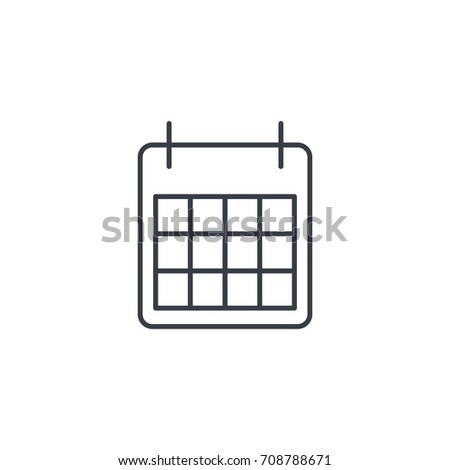 calendar thin line icon. Linear vector illustration. Pictogram isolated on white background