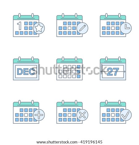 calendar thin line icons set. linear calendar icons collection. flat outline style. isolated on white background. vector illustration