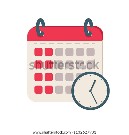 Calendar time icon. Flat illustration vector icon for web. Agenda binder concept design for planning. Reminder agenda sign illustration. Business concept simple flat pictogram. Holiday event planner