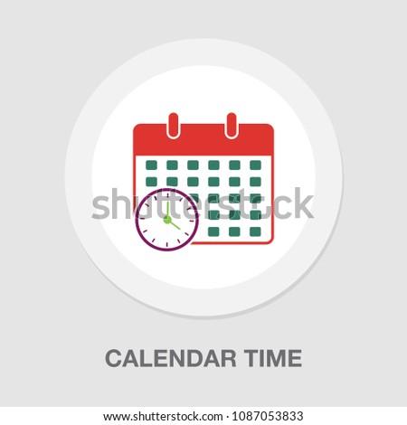 calendar time icon - vector deadline illustration, event reminder symbol