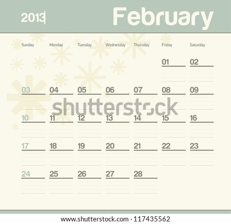 Calendar to schedule monthly. February.