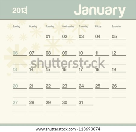 Calendar to schedule monthly. January.