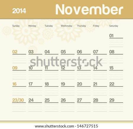 Calendar to schedule monthly November