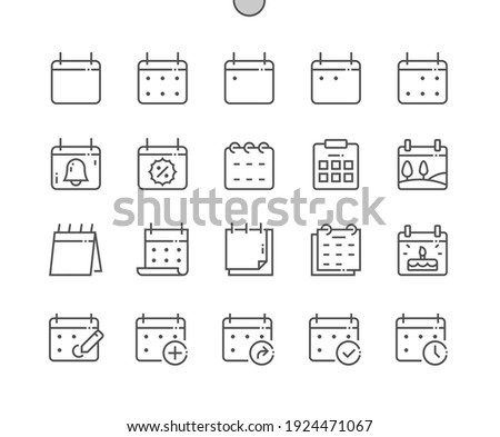 Calendar. Today, tomorrow, previous. Mark the date, holiday, important day. Planner diary. Add, share, and correct calendar. Pixel Perfect Vector Thin Line Icons. Simple Minimal Pictogram