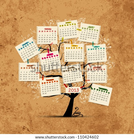 Calendar tree 2013 for your design - stock vector