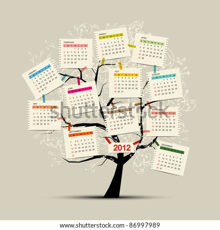 Calendar tree 2012 for your design - stock vector