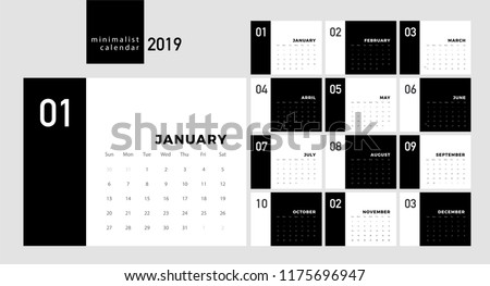 Calendar 2019 Trendy Minimalist Style. Set of 12 pages desk. minimal calendar planing black and white vector design for printing template