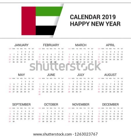 Calendar 2019 UAE Flag background. English language