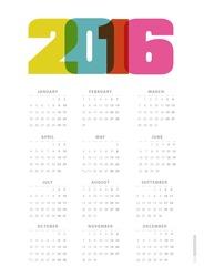 Calendar 2016. Vector.