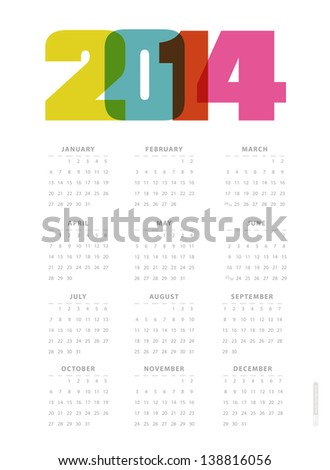 Calendar 2014. Vector. Сток-фото ©