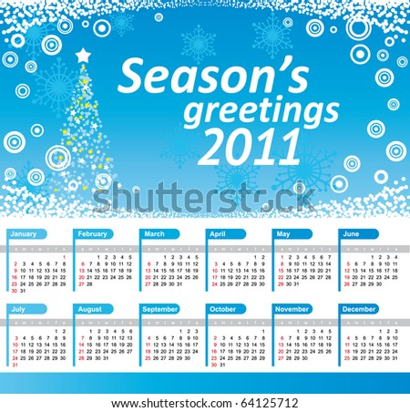 stock vector : Calendar 2011. Vector blue background with christmas tree,