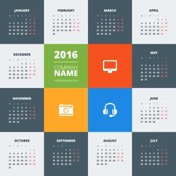 Calendar 2016 vector decign template. Week starts Monday