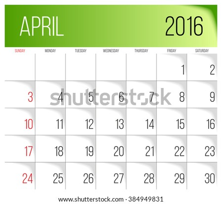 calendar 2016 vector design template april week starts on sunday