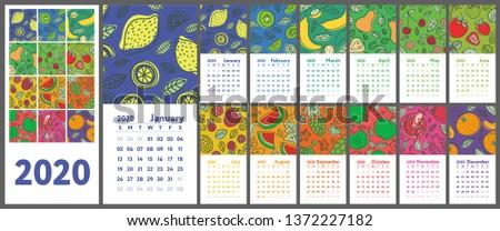 calendar 2020 vector english
