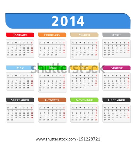 Calendar 2014 vector eps10 illustration