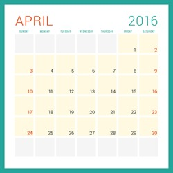Calendar 2016. Vector Flat Design Template. April. Week Starts Sunday