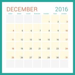 Calendar 2016. Vector Flat Design Template. December. Week Starts Sunday