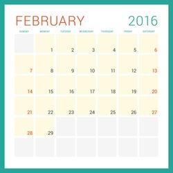 Calendar 2016. Vector Flat Design Template. February. Week Starts Sunday