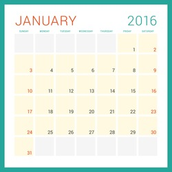 Calendar 2016. Vector Flat Design Template. January. Week Starts Sunday