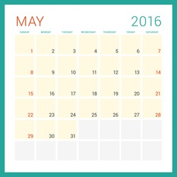 Calendar 2016. Vector Flat Design Template. May. Week Starts Sunday