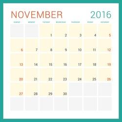 Calendar 2016. Vector Flat Design Template. November. Week Starts Sunday