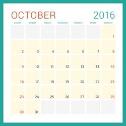 Calendar 2016. Vector Flat Design Template. October. Week Starts Sunday