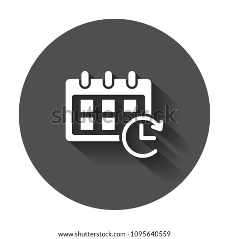 Calendar vector icon. Reminder agenda sign illustration. Business concept simple flat pictogram with long shadow.