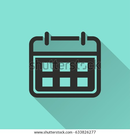 Calendar vector icon with long shadow. Illustration isolated for graphic and web design.