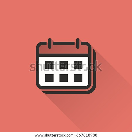 Calendar vector icon with long shadow. Illustration isolated on red background for graphic and web design.