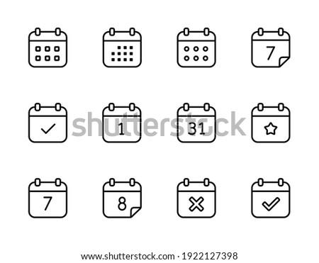 Calendar vector icons. Set of calendar symbols in line style.