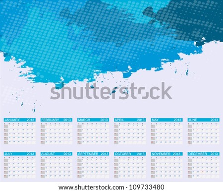 Calendar 2013. Vector Illustration - stock vector