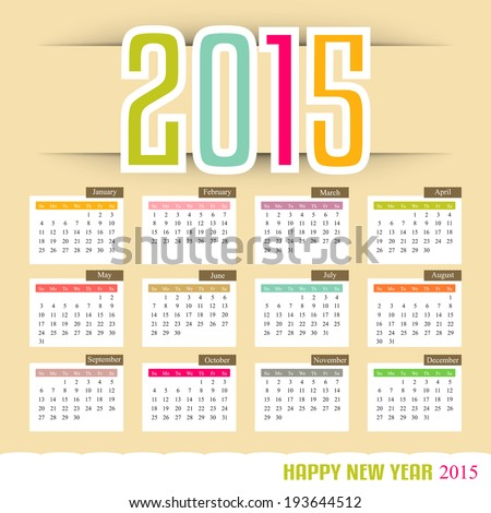 Calendar 2015 vector illustration