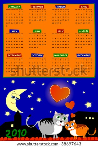 Calendar vector of next year, with background and cat lovers at night over the city rooftops. English language