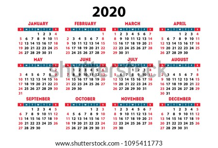 Calendar 2020 vector pocket basic grid. Simple design template