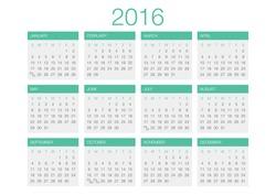Calendar 2016 Vector Template.