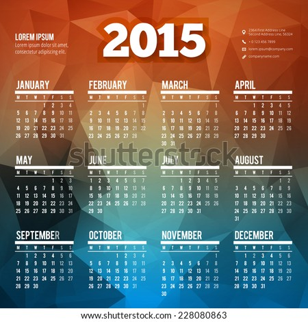 Calendar 2015 vector template week starts monday all month