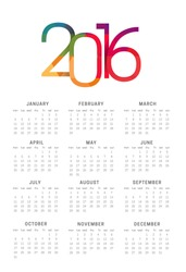 Calendar 2016 vector template week starts Monday in white background