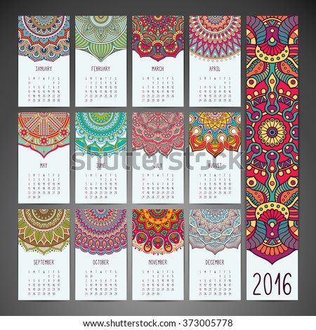 Calendar 2016. Vintage decorative elements. Ornamental floral business cards, oriental pattern, vector illustration.  Islam, Arabic, Indian, turkish, pakistan, chinese, moroccan, ottoman motifs
