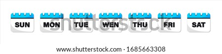Calendar web buttons - Days of the week. The days of week badges. Set of Every Day of a Week Calendar Icons  in Trendy Flat Style Stockfoto ©
