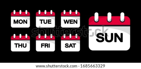 Calendar web buttons - Days of the week. The days of week badges. Set of Every Day of a Week Calendar Icons  in Trendy Flat Style