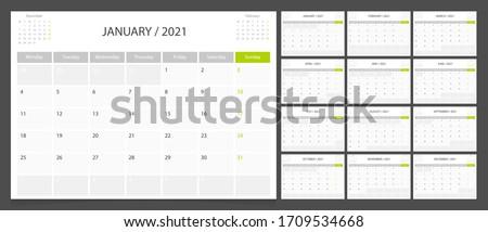 Calendar 2021 week start Monday corporate design planner template.