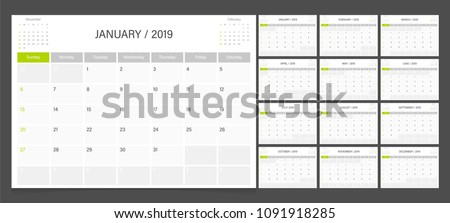Calendar 2019 week start on Sunday corporate design planner template.