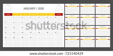 Calendar 2018 week start on Sunday corporate design planner template.
