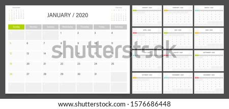Calendar 2020. Week start Sunday corporate design planner.