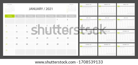 Calendar 2021 week start Sunday corporate design planner template.