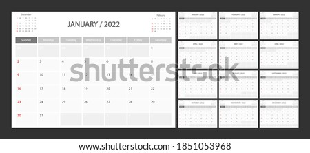 Calendar 2022 week start Sunday corporate design planner template.