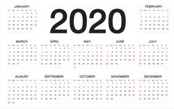 calendar 2020, Week starts from Sunday, business template