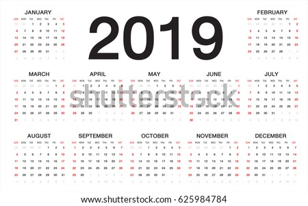Printable calendar 2019 123freevectors for 2104 calendar template